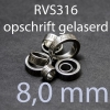 stalen ring 8,0 mm RVS316